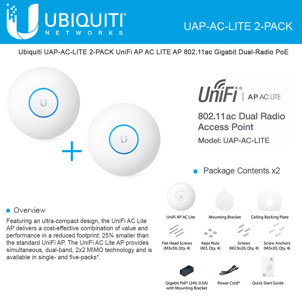 Ubiquiti UAP-AC-LITE-US WiFi Dual Radio Access Point w// UniFi 802.11ac MIMO Tech