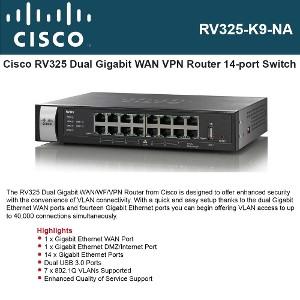 Cisco RV325 Dual Gigabit WAN VPN Router 14-ports switch Dual