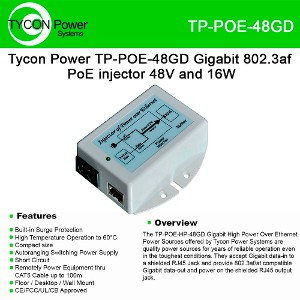 Tycon Systems Inc TP-POE-48 48v 18w Poe Power Inserter