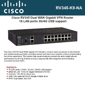 Cisco RV345 Dual WAN Gigabit VPN Router 16 LAN ports 3G/4G USB support